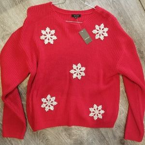 Verve Ami NEW Red Snowflake Sweater Size XL